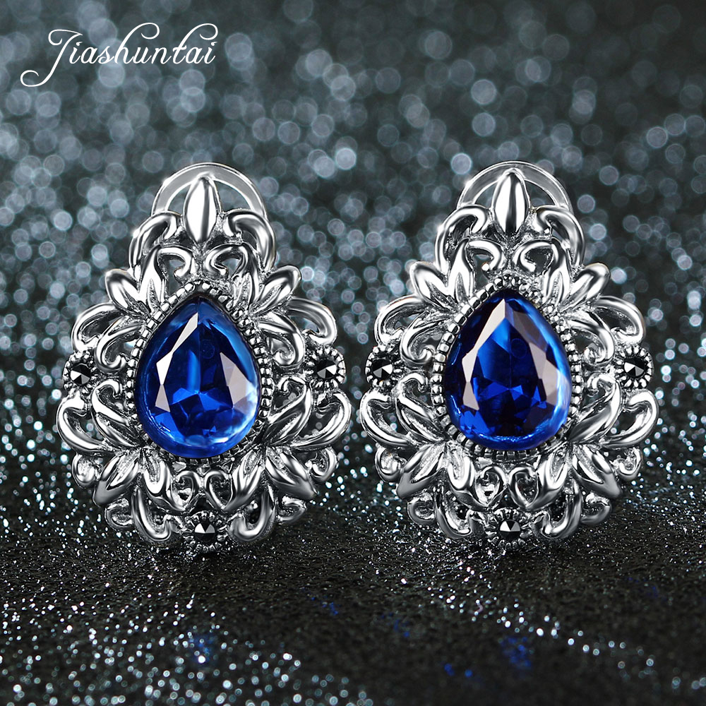 JIASHUNTAI Retro 100% 925 Sterling Silver Clip Earrings For Women Natural Precious Stones Vintage Thai Silver Earring Jewelry