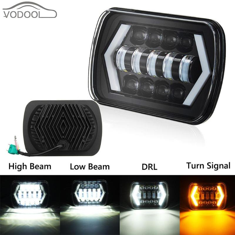 5*7 55W LED Projector Headlight DRL Waterproof Work Light Lamp for Jeep Wrangler YJ Cherokee XJ for Toyota Pickup Offroad Truck compatible projector lamp casio yl 35 10294008 xj s31 xj s36