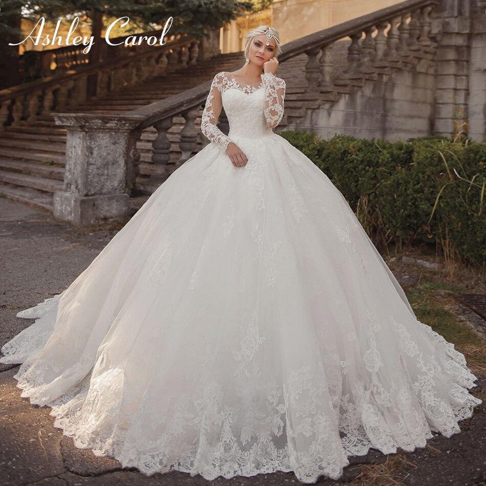 Ashley Carol Sexy Scoop Illusion Long Sleeve Princess Ball Gown Wedding Dress 2019 Luxury Vintage Wedding Gowns Vestido De Noiva