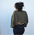 Camisetas unicornio tumblr tops 2017 nueva otoño tamaño neto del agujero suelta de manga larga t-shirt de algodón del todo-fósforo de la personalidad femenina