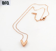 BFQ 2017 Fashion Letter V Pendant Necklaces For Women Gold Color Silver Color Stainless Steel Necklace Gift bijoux femme collier