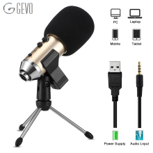 GEVO MK-F500TL Phone Microphone For Computer Professional Condenser Wired USB Studio Mic Karaoke Recording With Stand Tripod