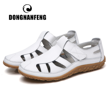 DONGNANFENG Women Ladies Female Mother Genuine Leather Shoes Sandals Gladiator Summer Beach Cool Hollow Soft Hook Loop LLX-9568