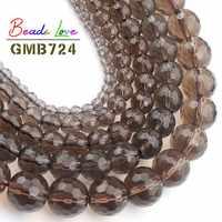 Großhandel Faceted Smoky Quartzs Stein 4 6 8 10 12mm Runde Perlen Für Schmuck, Die DIY Charme Glas Armband kristall Perles 15''