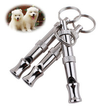 1pc Pet Supplies Ultrasonic Flute Dog Training Whistle With Key Chain Aluminium Alloy Puppy Dogs Adjustable
