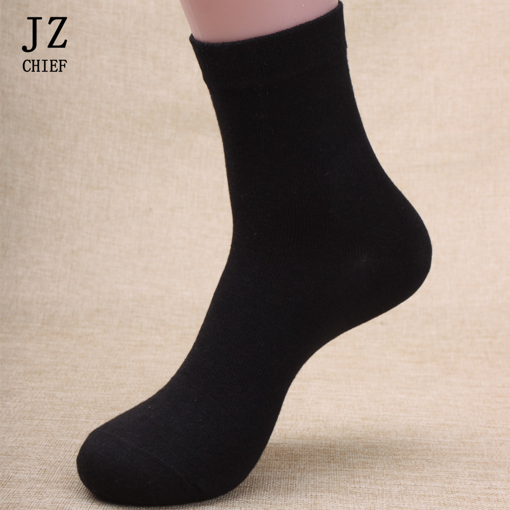 JZ CHIEF 5 Pairs/Set 100 Cotton   Socks   For Men Black Breatchable Deodorize Crew   Socks   Long Business Casual Grey Blue White   Socks