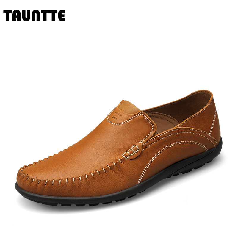Tauntte New Genuine Leather Men Loafers Fashion Breathable Casual Men Shoes 2017 new spring imported leather men s shoes white eather shoes breathable sneaker fashion men casual shoes
