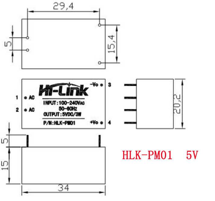 1 pièces HLK-PM01 HLK-PM03 HLK-PM12 AC-DC 220 V à 5 V 3.3 V 12 V Module D'alimentation AC à DC Module de Puissance Isolé UL/CE Commutateur Domestique
