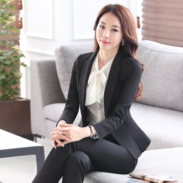 New  Women Interview Formal Work Office Long Sleeve Coat Pant Suits Ol Slim V