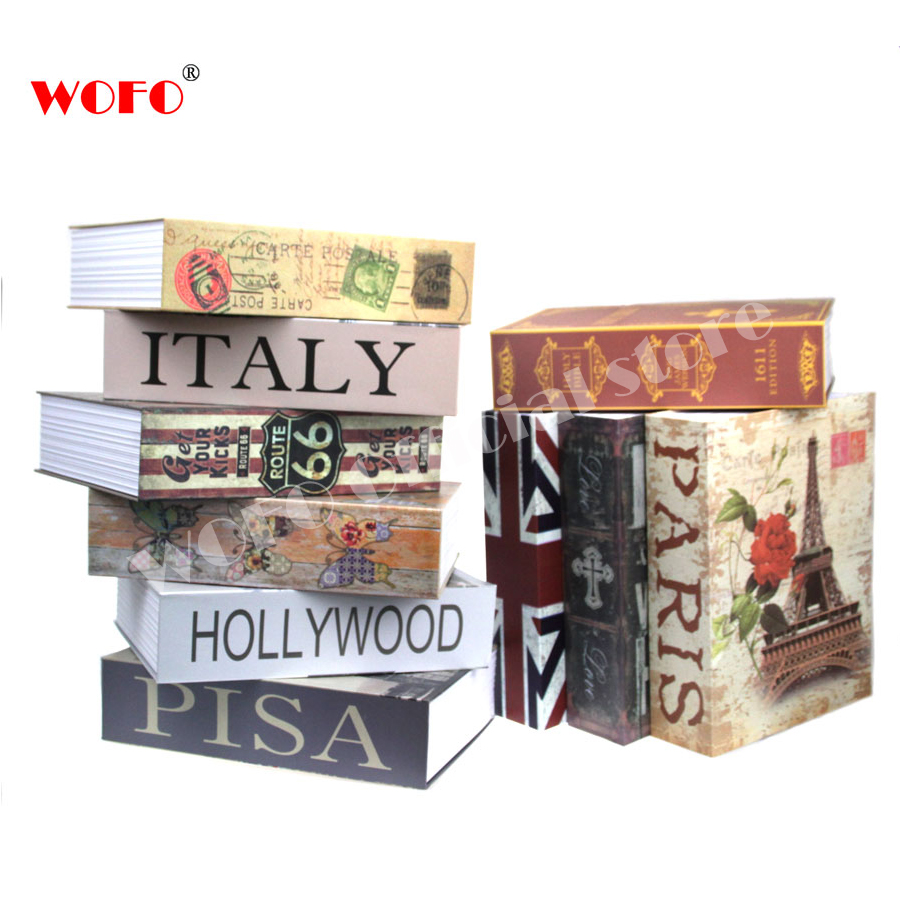 WOFO 10 Designs Scenery Secret Book Piggy Bank Hidden Security Safe Key Lock Cash Money Box Birthday Gift 26.5 * 20 * 6.5cm