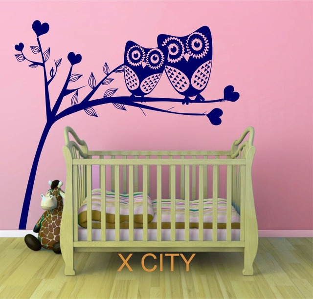 Owl Tree Hearts Cute Scenery Vinyl Wall Decal Art Sticker For Children Kids Baby Room Stencil