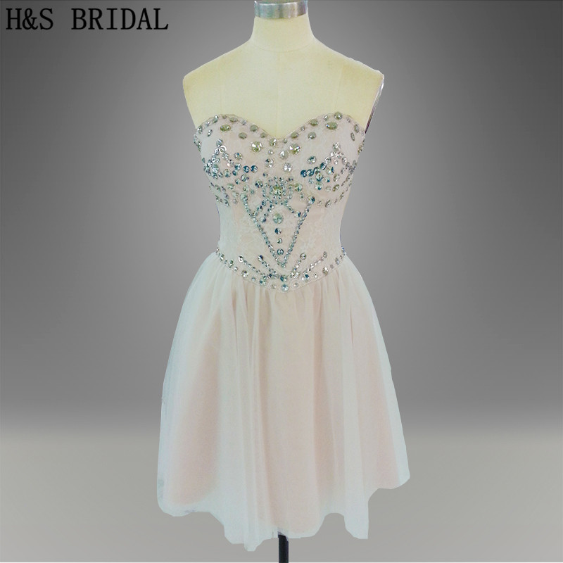 Real photo Short prom dress strapless sweetheart light pink lovely stone beadings short cocktail dress