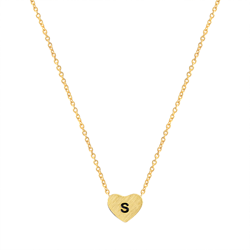n00348s 1pcs high quality stainless steel tiny initial letter s necklace logo pendant men women gift
