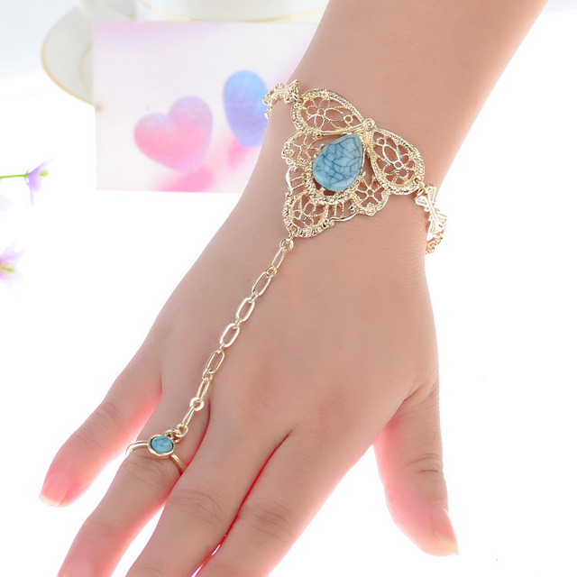 Fashion Jewelry Gold Ring Attached To Bracelet For Women Plated Conjoined Inlay Turquoise