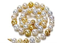 AAA 12 13mm freshwater round white gold pearl necklace 18inch 925 silver clasp