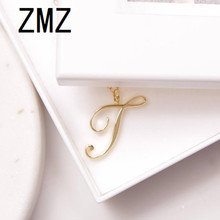 hot deal buy zmz 2018 europe/us fashion english letter pendant lovely letter t text necklace gift for mom/girlfriend party jewelry