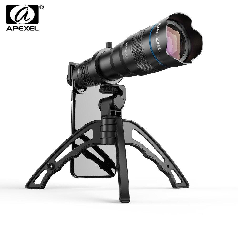 APEXEL HD 36X téléphone objectif caméra téléobjectif Zoom monoculaire télescope objectif + selfietrépied avec obturateur à distance pour tous les Smartphones