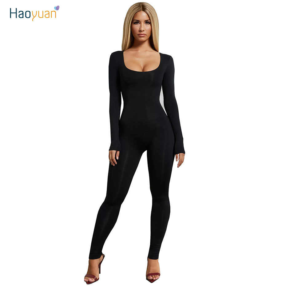 7ecfa3506 HAOYUAN Casual Slim Fit Long Women Overall O-Neck Full Sleeve Jumpsuits One  Piece Spring