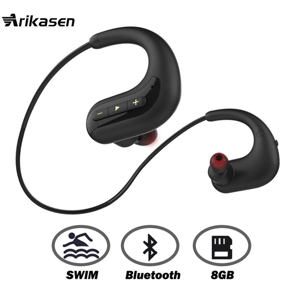 Ariaksen casque bluetooth pour la Baignade 8 GB MP3 musique lecteur IPX8 étanche écouteur sans fil bluetooth casque écouteurs mic