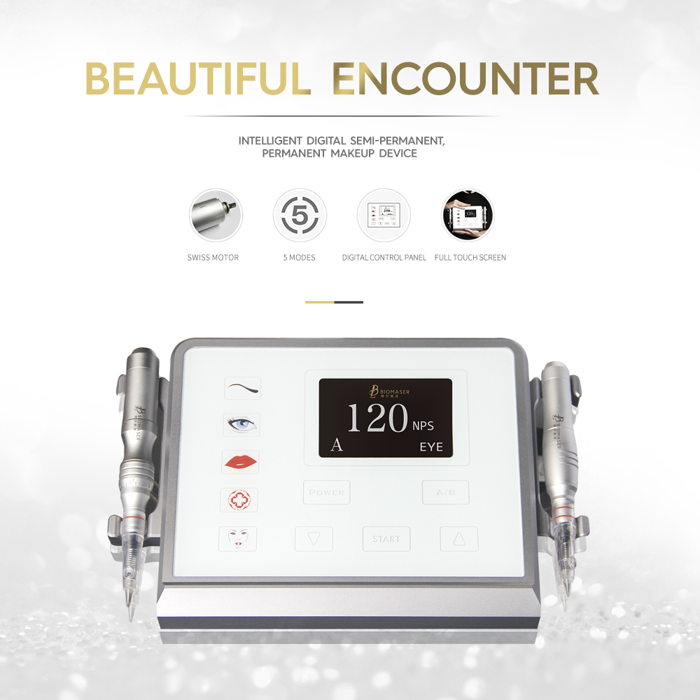 Biomaser Permanent makeup machine device kit digital newest design full aluminum body touch pad with 5 mod hand piece Foot pedal 35000r import permanent makeup machine best tattoo makeup eyebrow lips machine pen