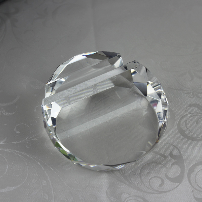JQJ Crystal Glass Faceted Card Holder Ball Paperweight Clear Rare ...