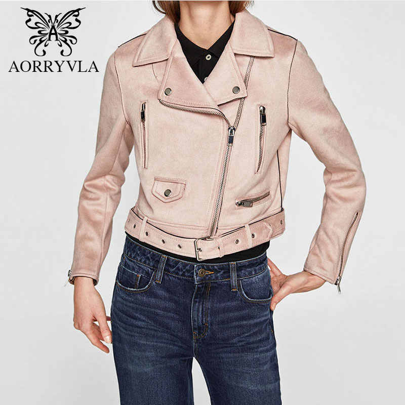 9658b91225a0 ... AORRYVLA New Fashion Faux Suede Biker Jacket For Women 2018 Autumn Full  Sleeve Turn-Down ...