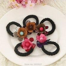 Korean Acrylic Big Flowers Elastic Rubber Bands Casual Hair Bands for Women Headwear Hair Accessories
