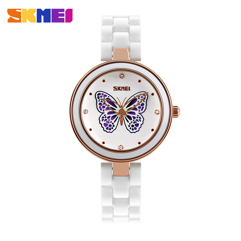 Skmei 2016 Ceramics Watch Women Ladies Casual Fashion Butterfly Famous Watch Clock Quartz Watch Montre Femme