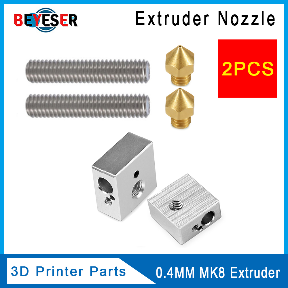 Anet A8 A6 2pcs 1.75mm Teflon Throat Tube+0.4mm Extruder Nozzle Print Heads +M6 Heater Block Hotend For 3d Printer Parts
