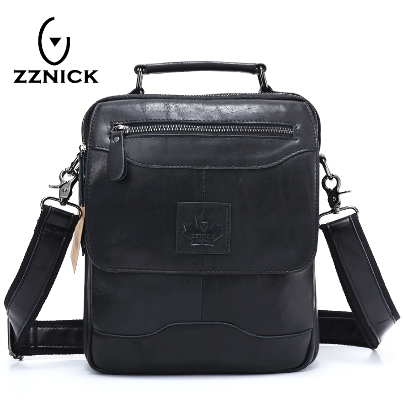 ZZNICK 2018 Spring New Arrival Genuine Leather Genuine Leather Men's Bag Shoulder Bags For Men Cross body Bag Portfolio Fashion bfdadi 2018 new arrival hat genuine