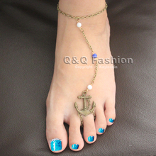 Vintage Anchor Toe Beads Bronze Copper Anklet Ankle Bracelet Bangle Barefoot Chain Sandal Beach Jewelry