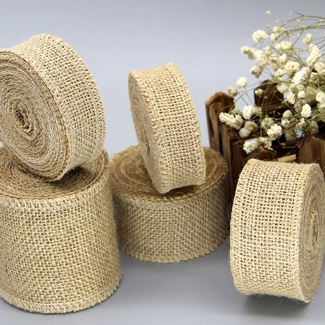 IBOWS 50yards Jute Burlap Ribbon Natural Hemp Ribbon for DIY Bag Material Wedding Party Craft Decorative Gift Warrping Wholesale