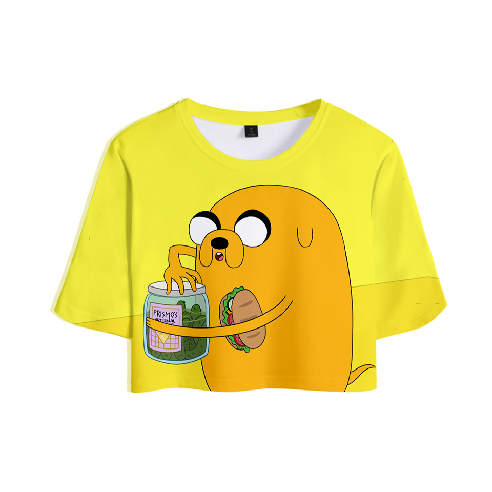 Adventure Time 3D Suit Sexy Dew Belly Tshirt New Style Sexy Lumbar Short Tshirt Color Suit Fashion   T     Shirt   XXL