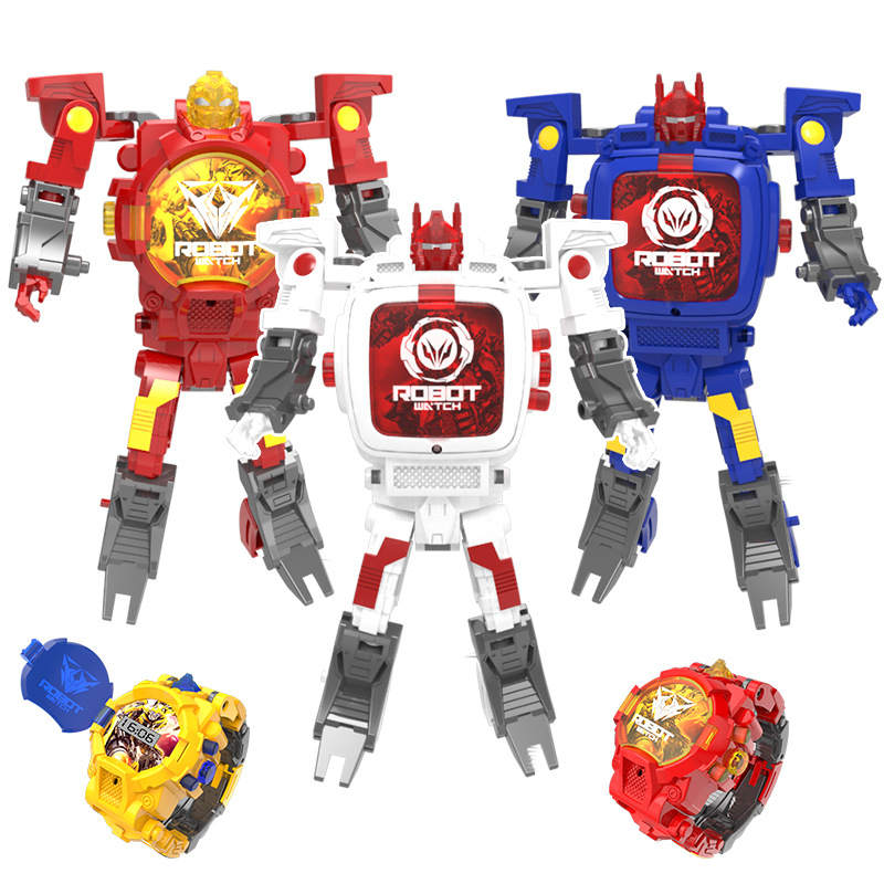 Trasformation Wristwatch Toy Children Sports Cartoon Watches Kids Xmas Gifts Cute Boys Robot Transformation Toys Distortion