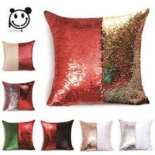 PEIYUAN Magical Throw Pillowcase Color Changing Reversible Pillow Case Pillow Cover DIY Mermaid Sequin Red Cushion Cover стоимость