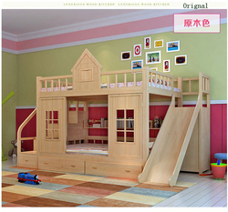 2016 modern solid wood Children's bed wood  bunk bed with ladder cabinet slider