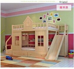 2016 moderna litera de madera maciza para niños, cama de madera con escalera, armario deslizante