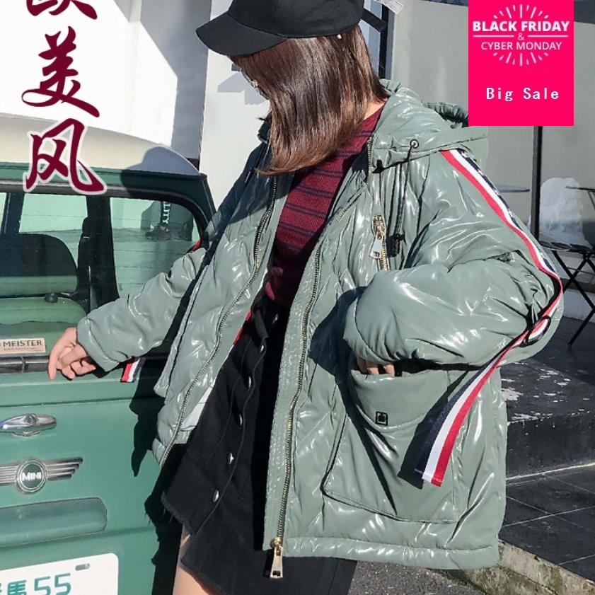 2019 new fashion brand glossy fabric real   down   parkas   coat   female winter plus size loose style cartoon pattern warm jacket wq570