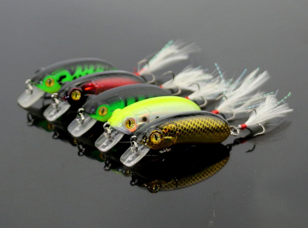 5pcs Fishing Lures Plastic Fishing Lures Hook Baits Minnow Crankbaits 6cm//10g