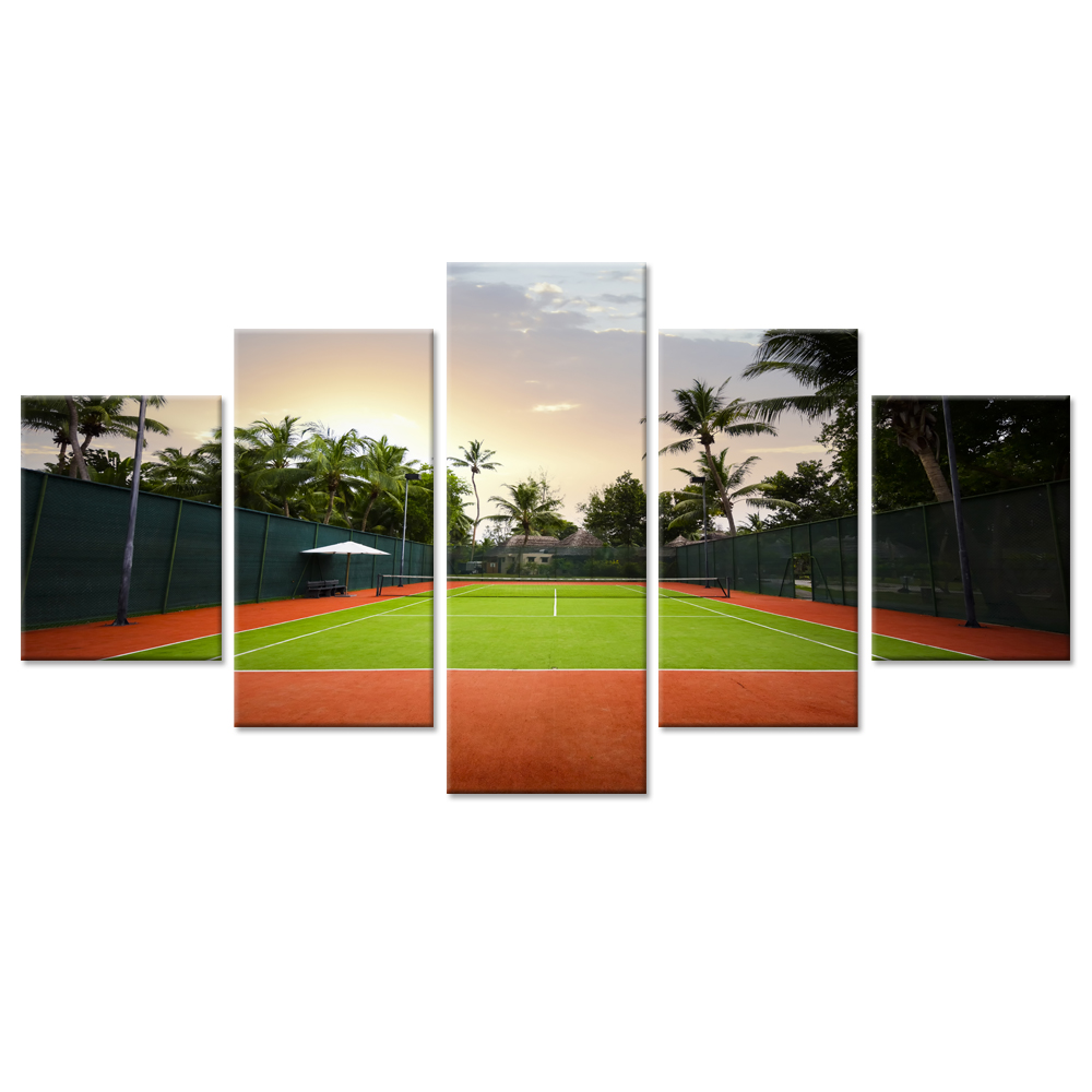 5 Pieces Large Canvas Wall Art Sunset Tennis Court American Sports Grand Slam Major Tournament Canvas Art Home Decoration Gifts