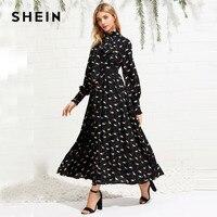 SHEIN Animal Print Um Vestido De Linha Do Vintage Preto Gravata férias Mulheres Raglan Manga Ajuste e Flare Vestido Elegante Maxi vestido