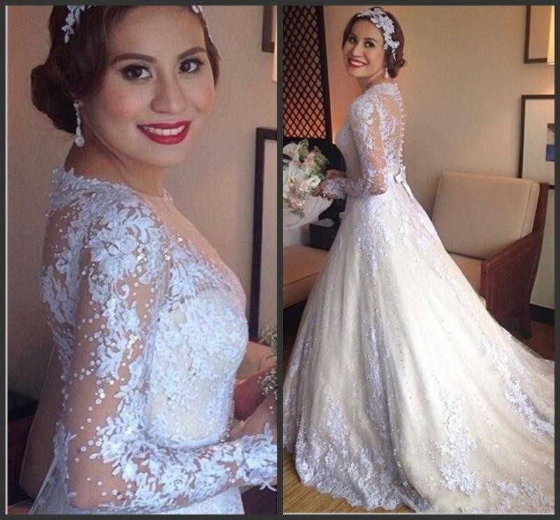 Hot Long Sleeve Boat Neck Lace Wedding Dresses Covered Button Applique Bridal Gowns See Through Backless Wedding Gown