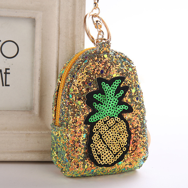 03d4508c73 US $2.1 20% OFF|Cute Pineapple Keychain Glitter Pompom Sequins Key Ring  Gifts Llaveros Mujer Charms Bag Accessories Key Chain Mini Coin Purse-in  Key ...