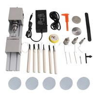 CNBTR DC12 24V Silver Mini Lathe Polisher Beading Pearl Machine Woodworking Polishing Cutting Drill Rotary Tool Set