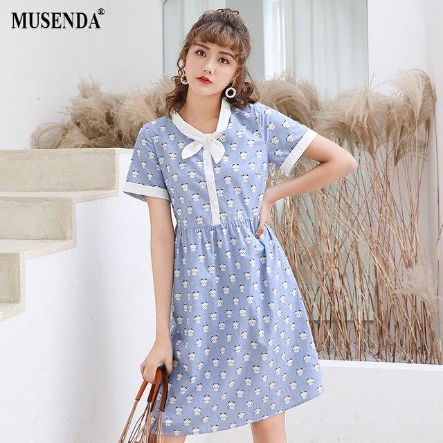 MUSENDA Plus Size Women Blue Cute Cat Print Bow Dress 2018 Summer Sundress  Female Ladies Sweet Dresses Vestido Robe Clothing 5XL d5afd0ff85c2