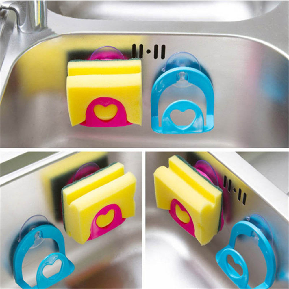 Shelf-Towel Hooks Rack Soap-Dish-Holder Robe Suction-Cup Drain Kitchen-Sink-Dish Sponge title=
