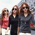 Женщины Повседневная Рубашка С Длинным Рукавом Тонкий Офис Solid T-Shirt Slim Fit Нагрудные Топ