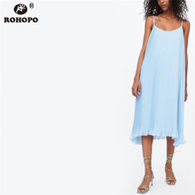 ROHOPO Summer Women Spaghetti Strap Baggy Knee Lenth Dress Solid Pleated Flare Hem Ruffles Chiffon Holiday Girl Vestido #CW9236