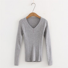 Spring New Korean Thin Breasted Knit Sweater Womens Street Solid V-neck Slim Women