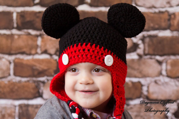 Crochet Hat Mickey Mouse Hat in Black and Red with Ears and Braids ...